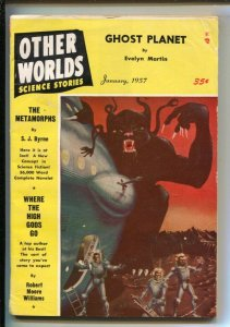 Other Worlds 1/1957-Paul Blaisdell spacecraft cover-Pulp tales by-Robert Moor...