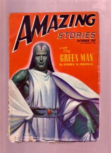 AMAZING STORIES OCT 1946  PULP-THE GREEN MAN STORY  SF-very good VG