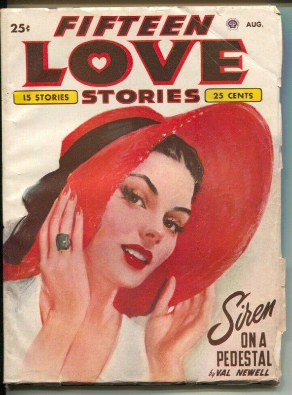 Fifteen Love Stories #4 8/1949-female pulp authors-pin-up girl cover art-FN