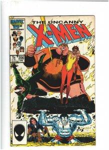Uncanny X-Men #206 VF- 7.5 Marvel Comics 1986 Wolverine vs. Freedom Force