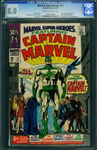 MARVEL SUPER-HEROES #12-1968-CGC 8.0-First CAPTAIN MARVEL - 1097052003