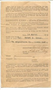 American Expeditionary Forces WWI Identity Card 3/14/1919-historic military-VG