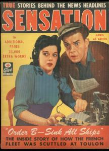 SENSATION APRIL 1943-GOOD GIRL ART-FRENCH FLEET-HOLMES FN