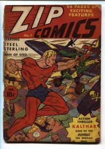ZIP COMICS #1-1st appearance STEEL STERLING -SCARLETT AVENGER 1941-RARE