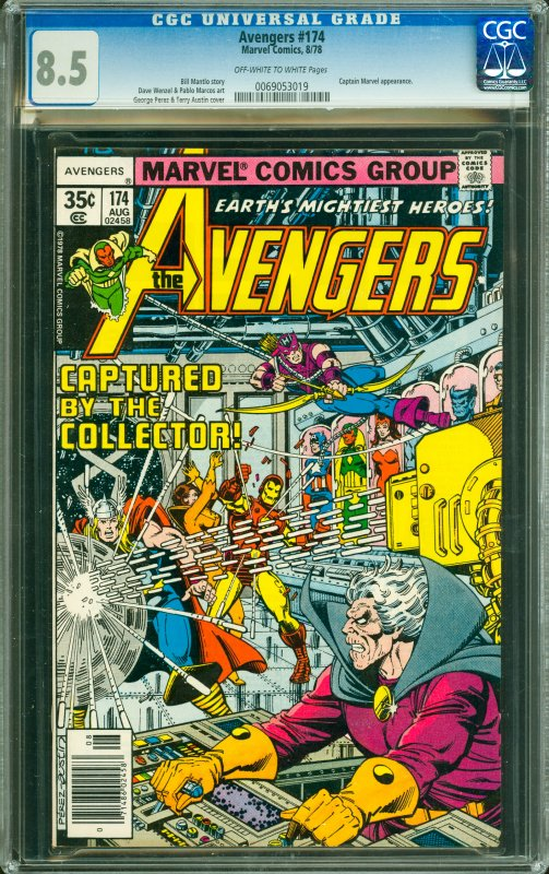 Avengers #174 CGC Graded 8.5 Captain Marvel appearance.