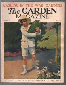 Garden Magazine 8/1917-watermelon cover-War Gardens-WWI era-FN