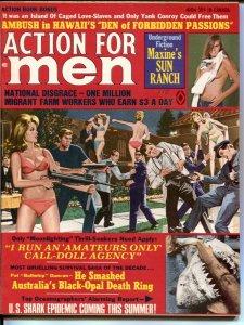Action For Men 7/1970-bikini girls with machine guns-shark terror-cheesecake-VF