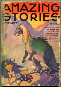 Amazing Stories Pulp November 1934- Dinosaur cover- poor
