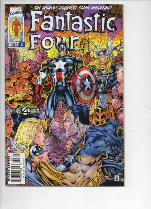 FANTASTIC FOUR #3, Vol 2, NM-, Jim Lee, Human Torch, more FF in store, 1996 1997