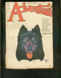 ADVENTURE PULP- 9/8/1926-GREAT WOLF COVER-BAUMHOFER ART G-