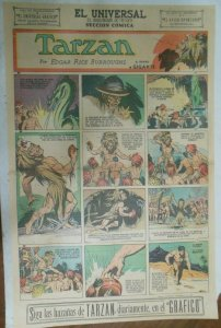 Tarzan Sunday Page #587 Burne Hogarth from 6/7/1942 in Spanish ! Full Page Size