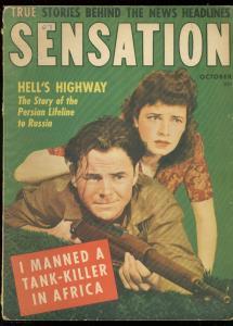 SENSATION MAGAZINE OCT 1943-GOOD GIRL ART-TANK KILLER VG