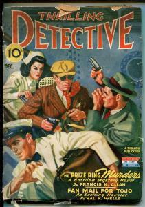 THRILLING DETECTIVE 12/1943-HARD BOILED-GUNFIGHT COVER-VILOENT PULP-good minus