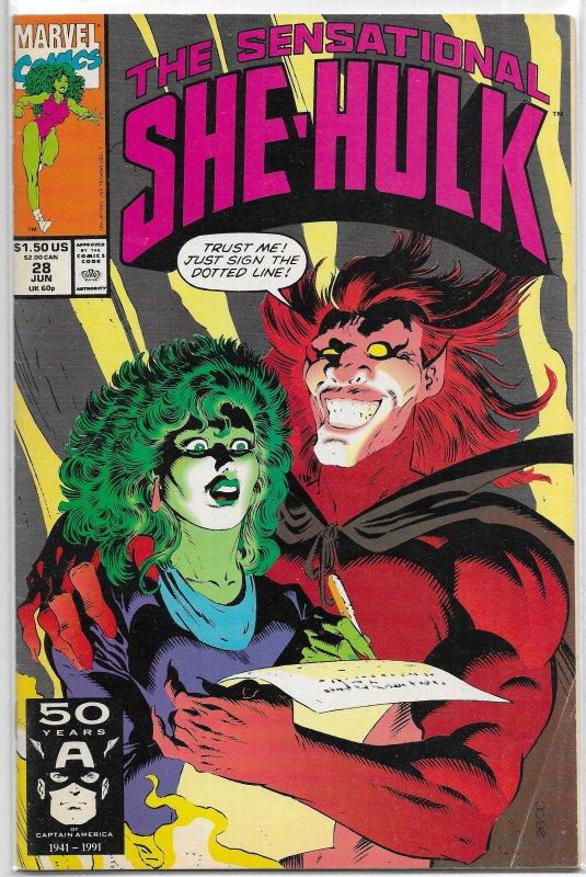 Sensational She-Hulk (1989) #28 VG Zimmerman/Lopresti, Hitch cover, Mephisto