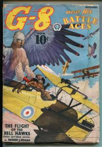 G-8 AND HIS BATTLE ACES-11/1937-POPULAR-WEIRD MENACE-AVIATION HERO-PULP-good+