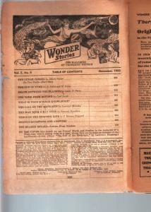 WONDER STORIES 1933 NOV-SCI FI PULP-BARGAIN COPY FR