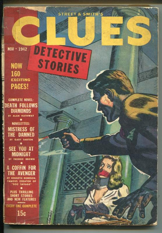 Clues 11/1942-detective pulp fiction-bound-gagged woman-The Avenger-G/VG