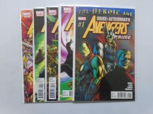 Avengers Prime, Set:1-5 THE HEROIC AGE Average 8.5/VF+ (2010)