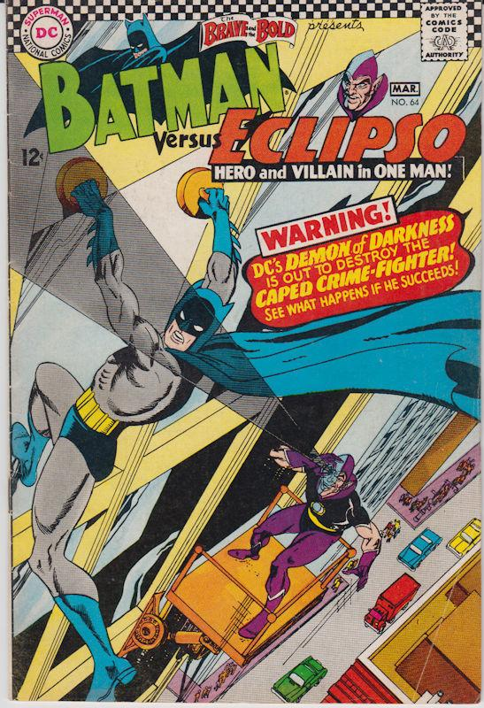 The Brave and the Bold #64 (Feb-Mar 1966, DC) Batman and Eclipso 6.5 Fine+ SA