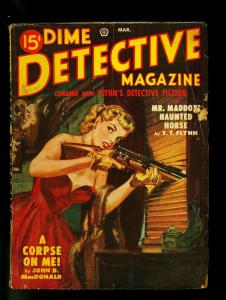 Dime Detective Pulp March 1946- Hardboiled Crime - Female Sniper cover- G