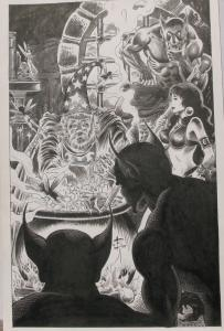 NEWTON BURCHAM original published art PIRATE QUEEN Splash page 20, 11x17,1989