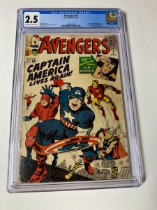 Avengers 4 Cgc 2.5 Ow/w Pages 1st Captain America Marvel Silver Age