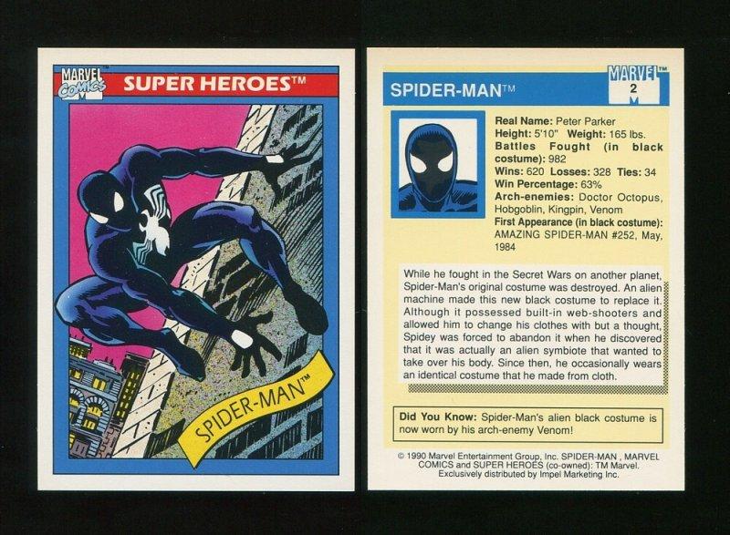 1990 Marvel Comics Card  #2 (Spiderman)  MINT