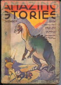 Amazing Stories 11/1934-Dinosaur cover-sci-fi pulp-FR
