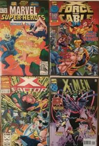 4 MARVEL ANNUALS:X-MEN FIRSTS;X FACTOR #8;MARVEL SUPER HEROES;X-FORCE/CABLE
