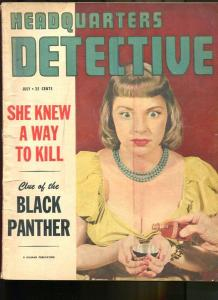 HEADQUARTERS DETECTIVE JUL 1950-CRIME-PULP-MAGAZINE-BUSTY BABE WITH POISON G