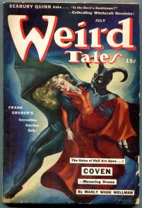 Weird Tales Pulp July 1942- Brundage Devil cover- Manly Wade Wellman