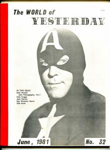 World of Yesterday #32 6/1981-Capt America-Dick Purcell-Otto Kruger-VG