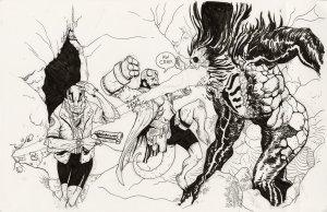 Hellboy and Abe Sapien 16.5 X 11 Illustration