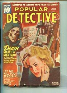 POPULAR DETECTIVE-06/1946-SKULL-ELECTRIC CHAIR-LAURENCE DONOVAN-good/vg