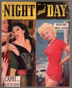 Night And Day  3/1951-spicy pix-Linda Darnell-pulp murder-Irish McCalla-VG-