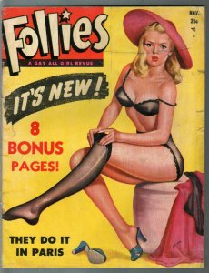 Follies #1 11/1950-stocking pin-up girl by Steffa Moran-girl fights-FR