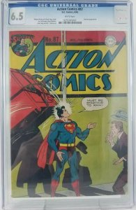 1945 DC~Action Comics #87~CGC 6.5 (F+)~Dummy Appearance