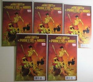 John Carter A Princess of Mars Lot of 5 #1 Marvel 2011 1st Print Comic Books