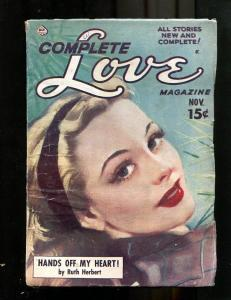 COMPLETE LOVE PULP-NOV 1950-GOOD GIRL ART-PIN UP STYLE! VG