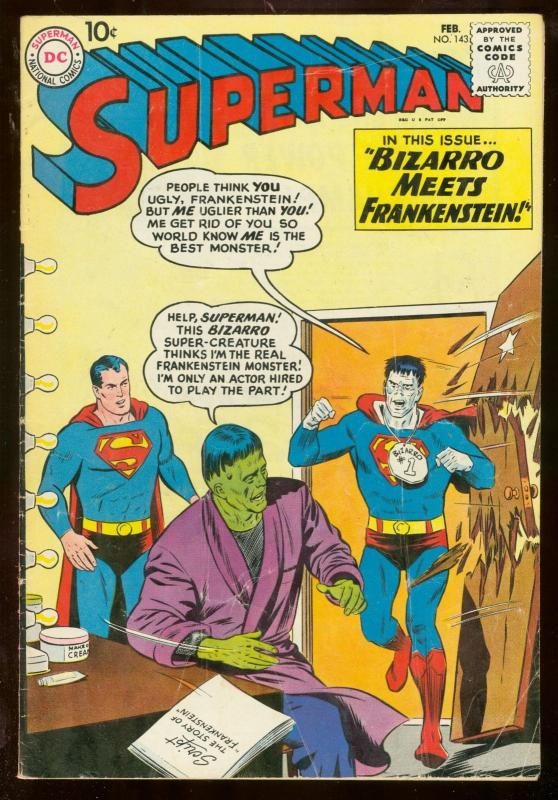 Superman #143 1961- Bizarro meets Frankenstein cover- VG