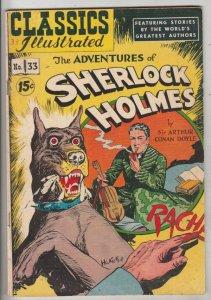 Classic Comics #33 (Jan-47) FN Affordable-Grade Sherlock Holmes, Doctor Watson