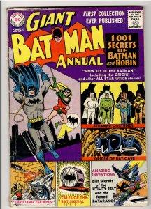 BATMAN ANNUAL 1 VG+ 4.5 1961!! ORIGIN OF BATCAVE!