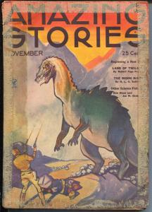 Amazing Stories 11/1934-Dinosaur cover-sci-fi pulp-FR