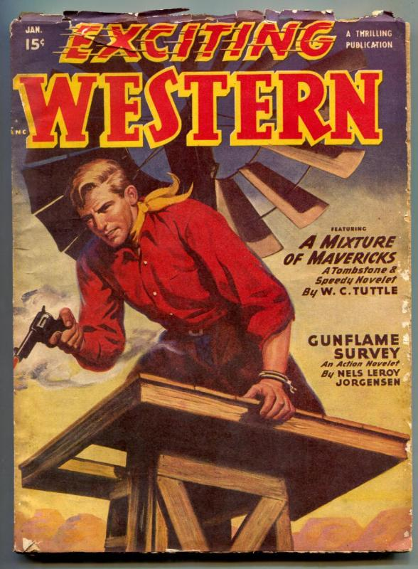 Exciting Western Pulp January 1950- Tombstone & Speedy- Gunflame survey