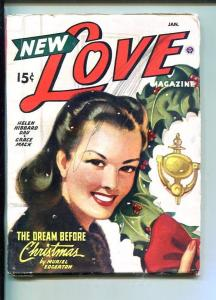 NEW LOVE-JAN 1947-ROMANTIC PULP FICTION-PIN-UP GIRL COVER-CHRISTMAS-vg minus