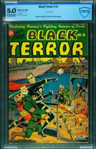 THE BLACK TERROR #10 CBCS 5.0 Nazi flame thrower WWII cover-Nedor-Schomburg