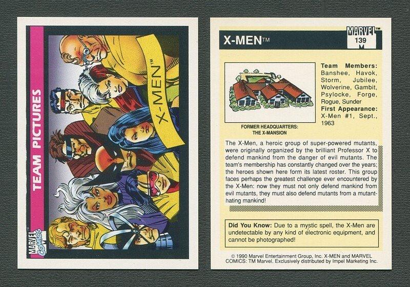 1990 Marvel Comics Card  #139 (X-Men Team) / MINT