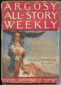 Argosy All-Story Weekly 9/22/1923-Avenging Shepherd Part 1-pulp thrills-G