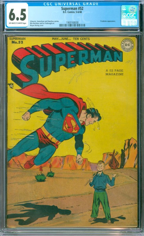 Superman # 52 CGC Graded 6.5 Prankster Appearance