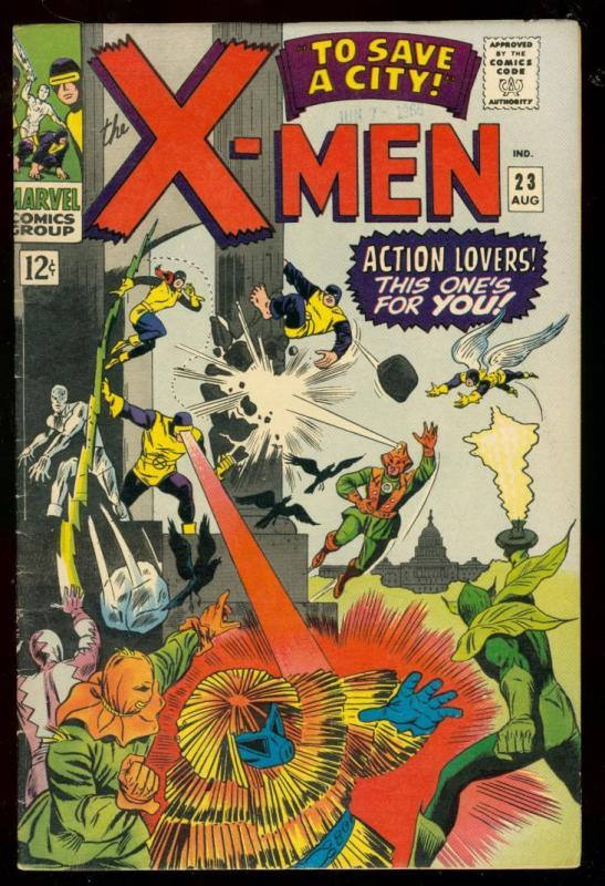 X-MEN #23 1966-MARVEL COMICS-NEFARIA -- BATTLE COVER FN+